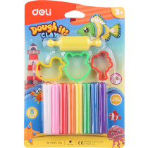 Clay - 8 Colours with 1 roller &  3 molds