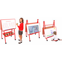 Double Boarded Mobile A-Frame Easel Landscape Style Red