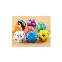 Coloured Plastic 12 Sided Dice 50pk